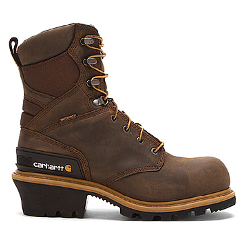 Men's 8-Inch Crazy Horse Brown Waterproof and Insulated Logger  - Safety Toe