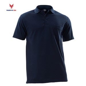 FR Short Sleeve Pique Polo Shirt in Navy