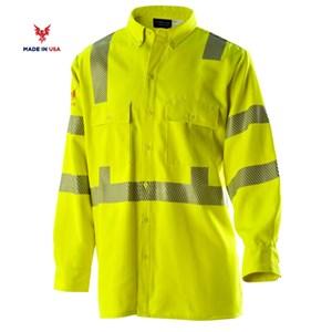 ANSI Class 3 Hi-Vis FR Button Front Work Shirt