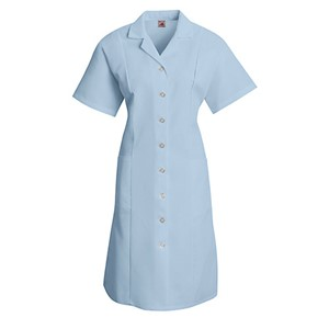 Button Front Short Sleeve Dress in Light Blue