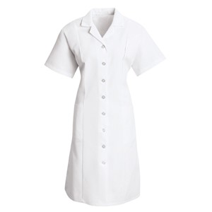 Button Front Short Sleeve Dress in White