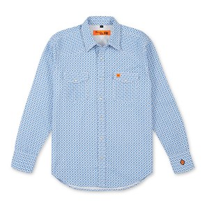 Wrangler Men's FR Long Sleeve Western Snap Shirt in Light Blue