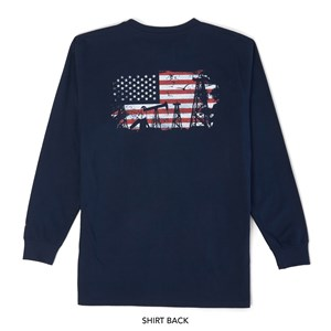 Wrangler FR Long Sleeve Graphic T-Shirt in Navy and Gray