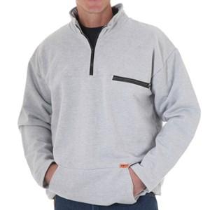 Pullover FR Sweatshirt with Quarter Zip-Front in Gray