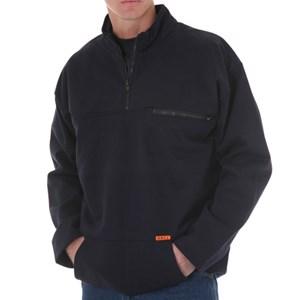 Pullover FR Sweatshirt with Quarter Zip-Front in Navy