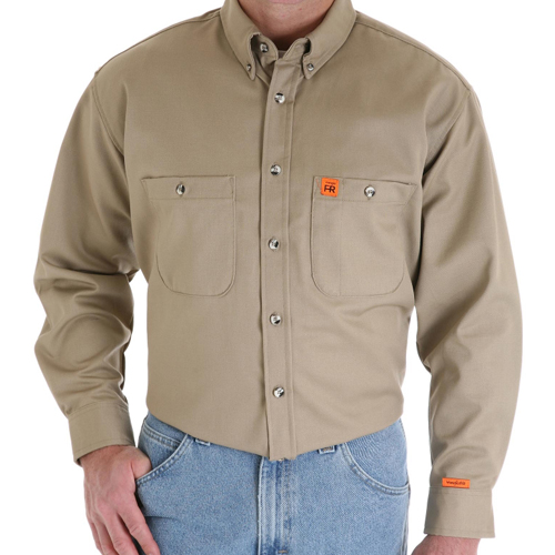 Fr work shirt wrangler button down for Flame resistant work shirts