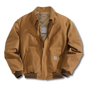 Carhartt FR Duck Bomber Jacket with Quilt Lining-Brown