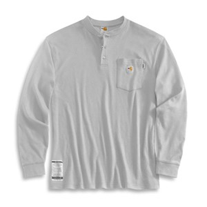 Carhartt Flame Resistant Long Sleeve Henley in Light Gray