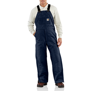 FR Duck Bib Overall with Quilted Lining - Navy