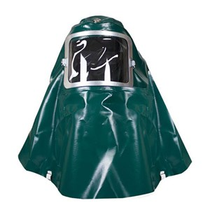 Green PVC Helmet with Ratchet Headgear