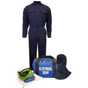 12 cal/cm² Arc Flash Kit with FR Coverall, NO GLOVES with KNIT HOOD