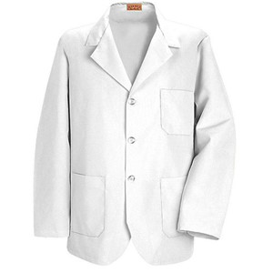 Men's Three-Button Lapel Counter Coat in White