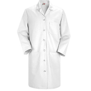 Women's Six-Button Closure Lab Coat in White