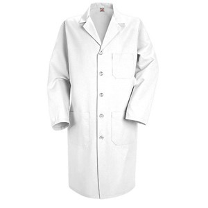 Men's Five-Button Closure Lab Coat in White
