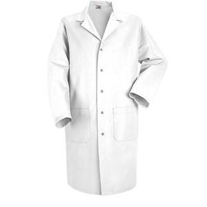 Men's Five-Gripper Closure Lab Coat in White