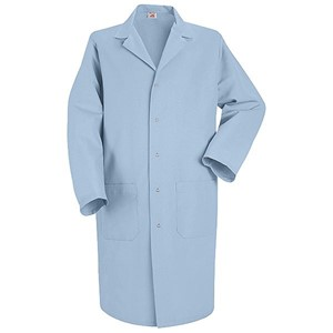 Men's Five-Gripper Closure Lab Coat in Light Blue