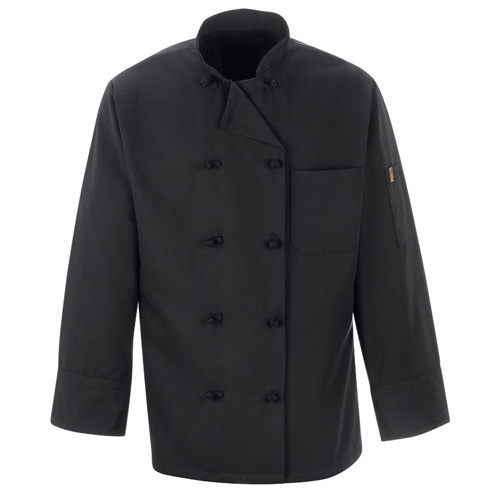 Black Polyester Chef Coat with Pearl Buttons