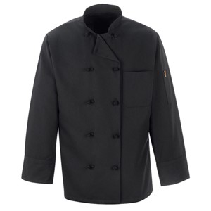 Black Polyester/Cotton Chef Coat