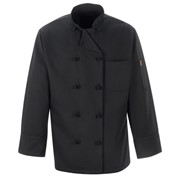 Black Polyester Chef Coat with Knot Buttons