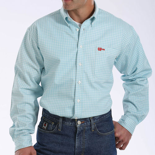 Flame resistant work shirt in turquoise cinch mlw3001006 for Cinch flame resistant shirts