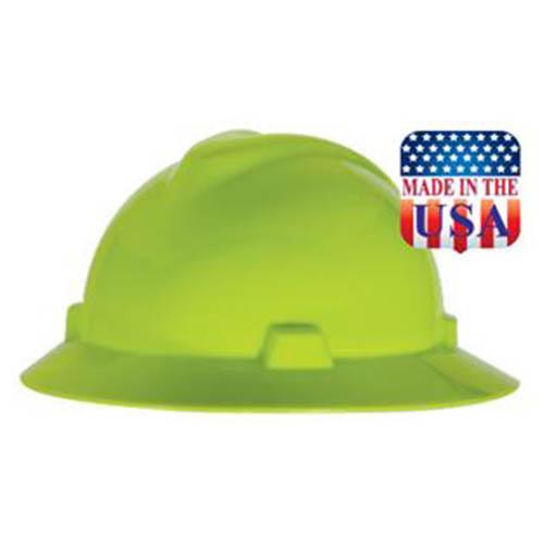 MSA V-Gard Full Brim Hard Hat in Hi-Vis Lime