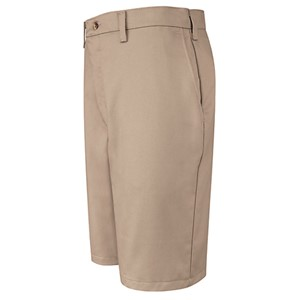 Plain Front Cotton Short in Khaki