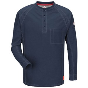 iQ Flame Resistant Long Sleeve Henley Shirt in Dark Blue