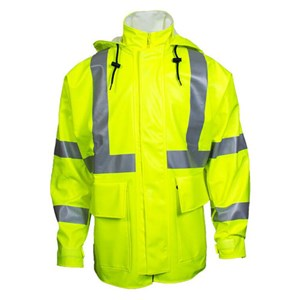 "Fluorescent Yellow Arc H2O™ 30"" FR Rain Jacket - ANSI Class 3"