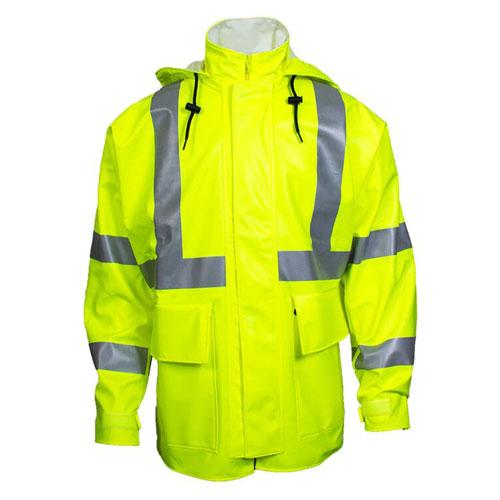 "Fluorescent Yellow Arc H2O™ 30"" FR Rain Jacket - ANSI Class 3"