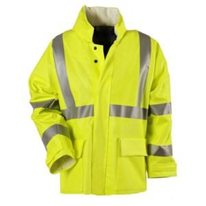"Fluorescent Yellow Arc H2O 30"" FR Rain Jacket - ANSI Class 3"