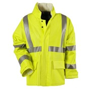 "Fluorescent Yellow Arc H2O 30"" FR Rain Jacket - ANSI Class 3"