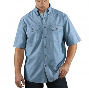 Fort Solid Short-Sleeve Chambray Shirt