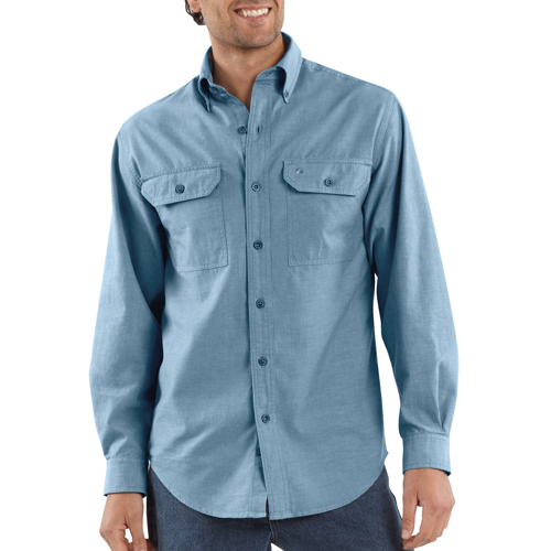 Fort Solid Long Sleeve Chambray Shirt