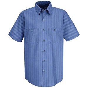 Short Sleeve Broadcloth Stripe Work Shirt
