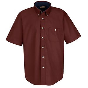 Cotton Contrast Short Sleeve Dress Shirt