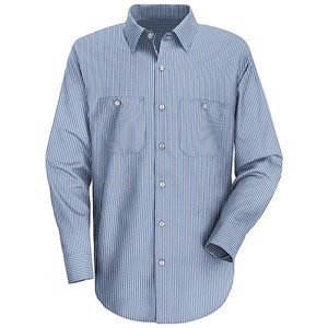 Long Sleeve Mock Oxford Stripe Work Shirt