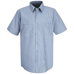Short Sleeve Mock Oxford Stripe Work Shirt