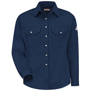 FR Womens Button Front Dress Shirt in Cool Touch 2 in Navy
