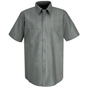 Short Sleeve Industrial Stripe Work Shirt