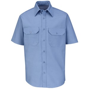 Solid Dress Short Sleeve Uniform Shirt