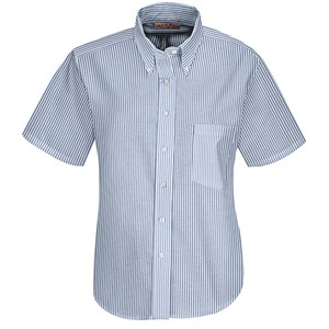 Executive Short Sleeve Oxford Dress Shirt Blue/White Stripe