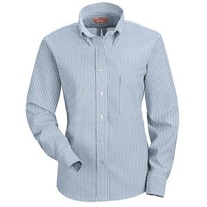 Executive Long Sleeve Oxford Dress Shirt Blue/White Stripe