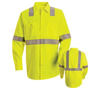Single Stripe, Long Sleeve Hi-Vis Work Shirt