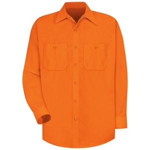 Long Sleeve Enhanced Visibility Work Shirt in Orange