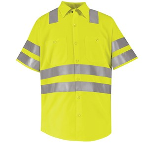 Double Stripe, Short Sleeve Hi-Vis Work Shirt