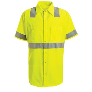 Single Stripe, Short Sleeve Hi-Vis Work Shirt