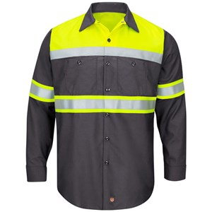 Hi-Vis Color Block Type O Work Shirt in Charcoal