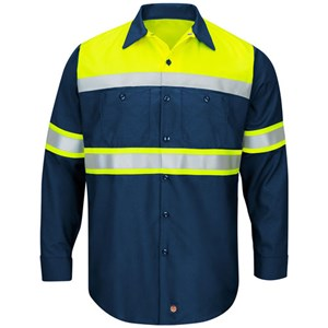 Hi-Vis Color Block Type O Work Shirt in Navy