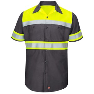 Hi-Vis Type O Short Sleeve Work Shirt in Charcoal