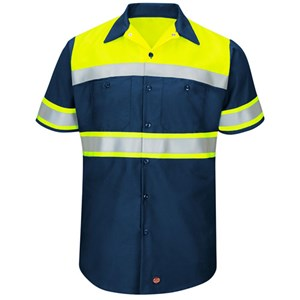 Hi-Vis Type O Short Sleeve Work Shirt in Navy
